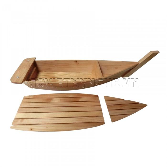 Khay thuyền gỗ trang trí sushi - sashimi Nhật Bản (Không Cột Lưới): các size 40cm, 50cm, 60cm