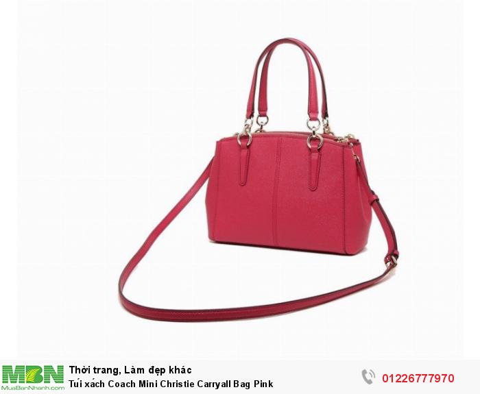 Coach Mini Christie Carryall Bag in Crossgrain Leather Bright Pink F575231
