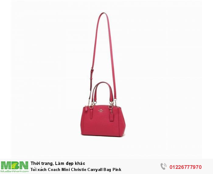 Coach Mini Christie Carryall Bag in Crossgrain Leather Bright Pink F575233