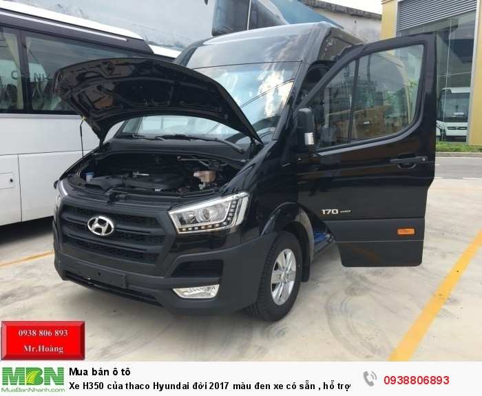 Xe H350 của thaco Hyundai đời 2017 màu đen xe có sẵn , hỗ trợ ĐK ,ĐK 5