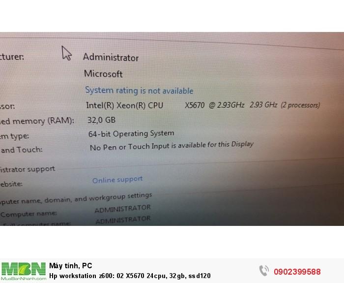 Hp workstation z600: 02 X5670 24cpu, 32gb, ssd1203