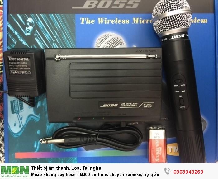 Micro không dây Boss TM-300  Sử dụng sóng: VHF từ 210 - 270Mhz. - Tần số đáp ứng: 40-45 KHz - Trở kháng: 60 Ohm - Công suất tiêu thụ: 1W - Tầm hoạt động: 20-30m - Sử dụng Pin 9V3