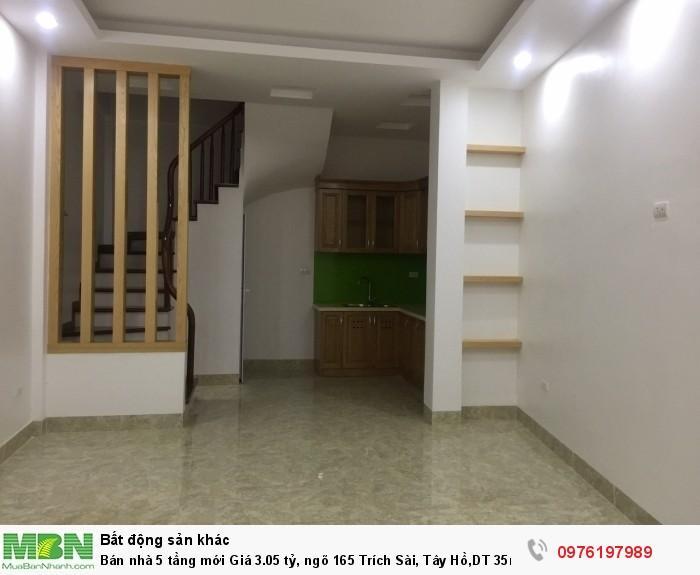 Bán nhà 5 tầng mới Giá 3.05 tỷ, ngõ 165 Trích Sài, Tây Hồ,DT 35m2