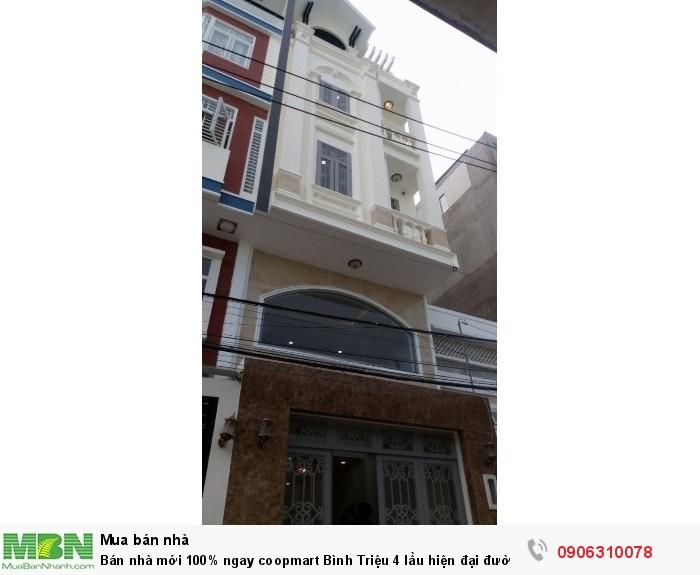 Bán nhà mới 100% ngay coopmart Bình Triệu 4 lầu hiện đại đường vào 12m