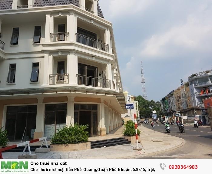 Cho thuê nhà mặt tiền Phổ Quang,Quận Phú Nhuận, 5.8x15, trệt,3 lầu, giá thuê 85 triệu/tháng