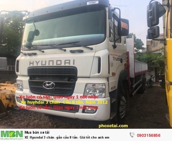XE Hyundai 3 chân- gắn cẩu 8 tấn- Giá tốt cho anh em