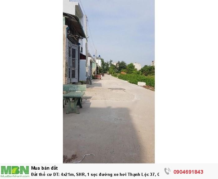 Đất thổ cư DT: 4x21m, SHR, 1 sẹc đường xe hơi Thạnh Lộc 37, Q12