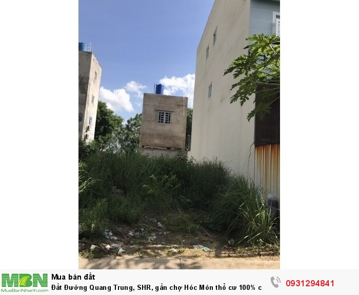 Đất Đường Quang Trung, SHR, gần chợ Hóc Môn thổ cư 100% cần bán gấp