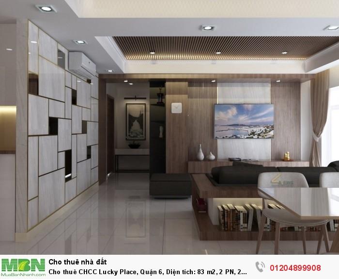 Cho thuê CHCC Lucky Place, Quận 6, Diện tích: 83 m2, 2 PN, 2 wc,đầy đủ nội thất,  (bao phí quản lý )