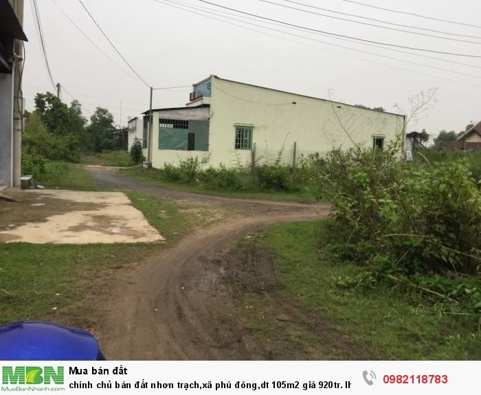 Chính chủ bán đất nhơn trạch,xã phú đông,dt 105m2 giá 920tr.