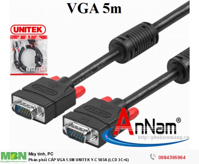 Phân phối CÁP VGA 1.5M UNITEK Y-C 503A (LCD 3C+6)0