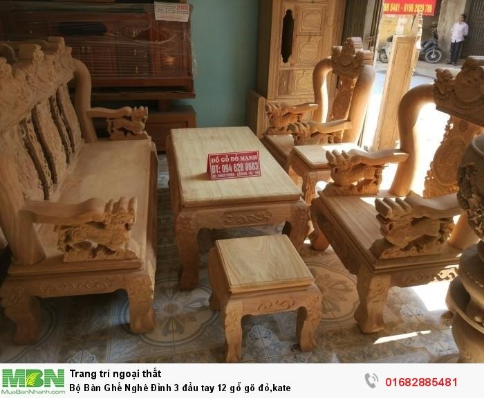 Bộ Bàn Ghế Nghê Đỉnh 3 đầu tay 12 gỗ gõ đỏ,kate0