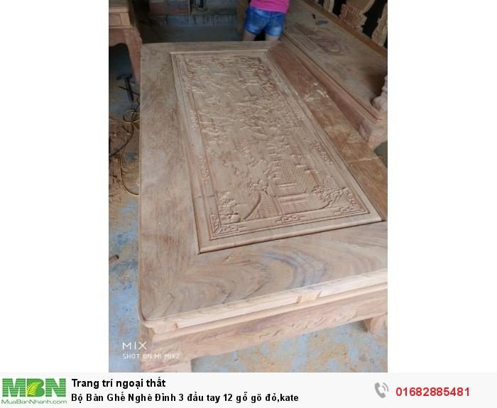 Bộ Bàn Ghế Nghê Đỉnh 3 đầu tay 12 gỗ gõ đỏ,kate4