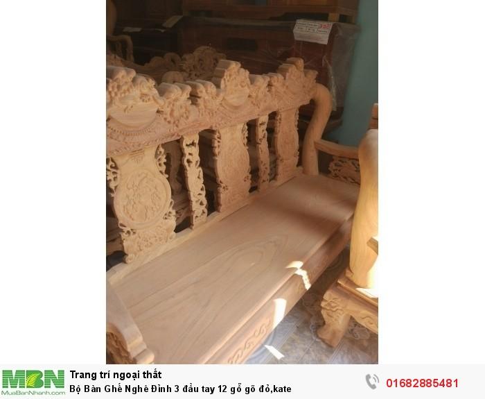 Bộ Bàn Ghế Nghê Đỉnh 3 đầu tay 12 gỗ gõ đỏ,kate6