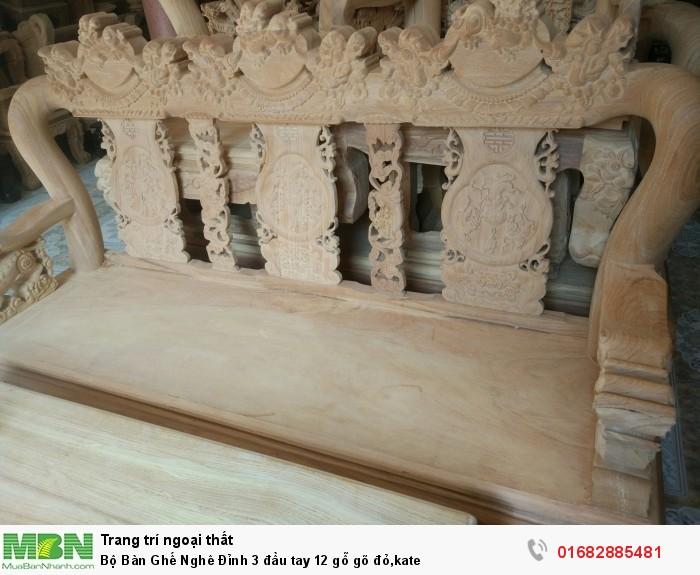 Bộ Bàn Ghế Nghê Đỉnh 3 đầu tay 12 gỗ gõ đỏ,kate8