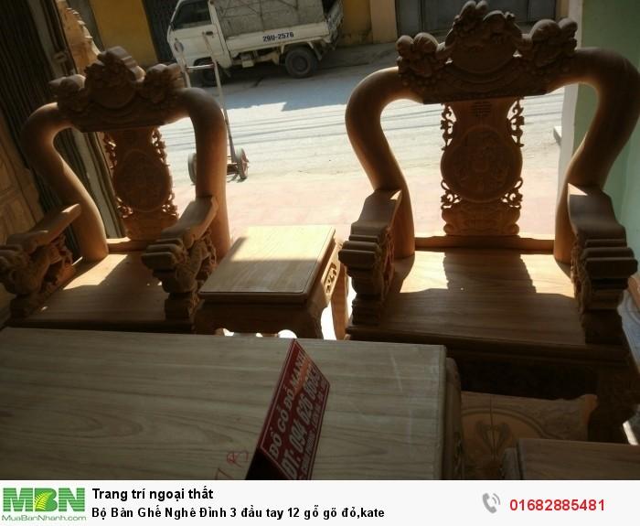 Bộ Bàn Ghế Nghê Đỉnh 3 đầu tay 12 gỗ gõ đỏ,kate11