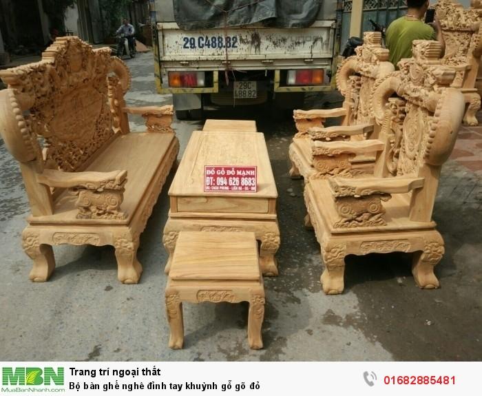 Bộ bàn ghế nghê đỉnh tay khuỳnh gỗ gõ đỏ0