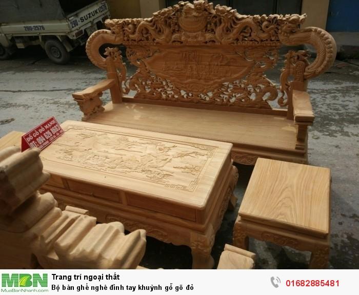 Bộ bàn ghế nghê đỉnh tay khuỳnh gỗ gõ đỏ2