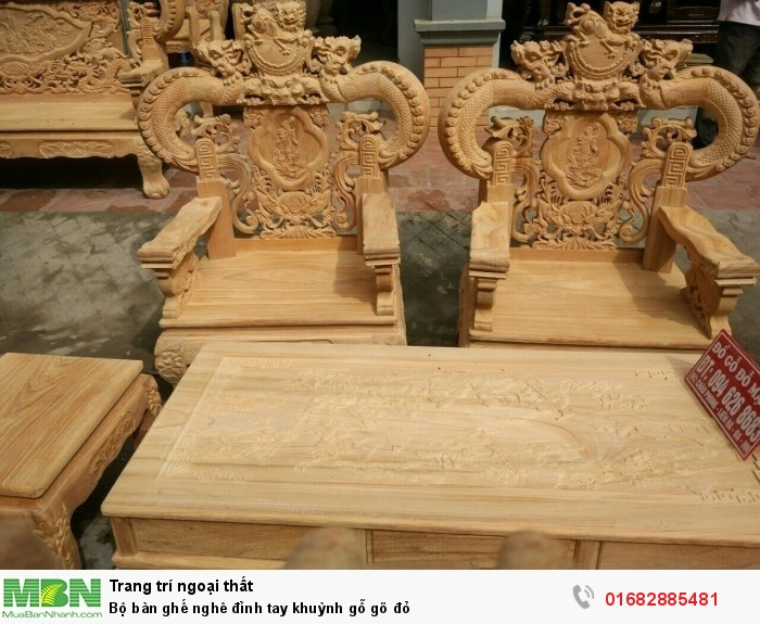 Bộ bàn ghế nghê đỉnh tay khuỳnh gỗ gõ đỏ3