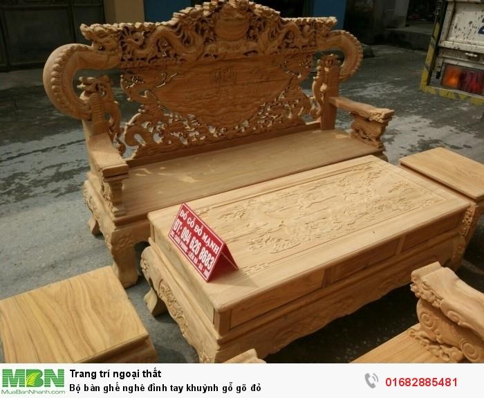 Bộ bàn ghế nghê đỉnh tay khuỳnh gỗ gõ đỏ5