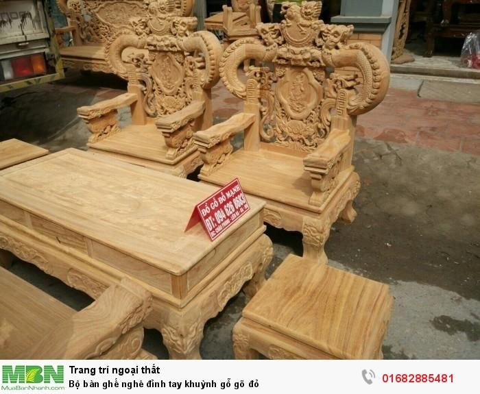 Bộ bàn ghế nghê đỉnh tay khuỳnh gỗ gõ đỏ6