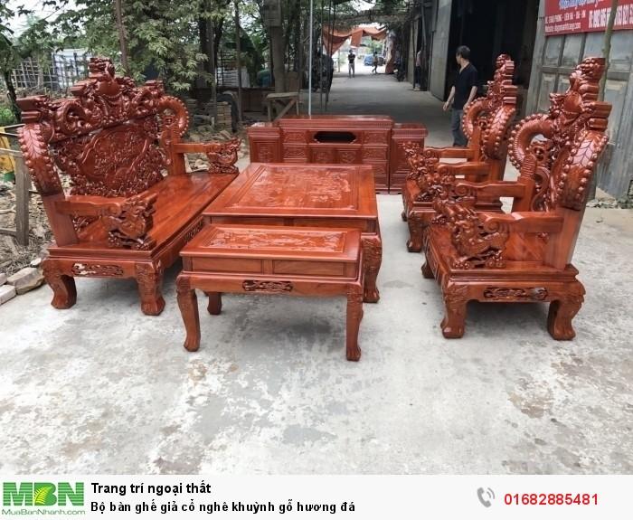Bộ bàn ghế giả cổ nghê khuỳnh gỗ hương đá0