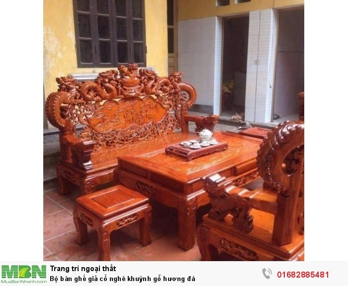 Bộ bàn ghế giả cổ nghê khuỳnh gỗ hương đá1