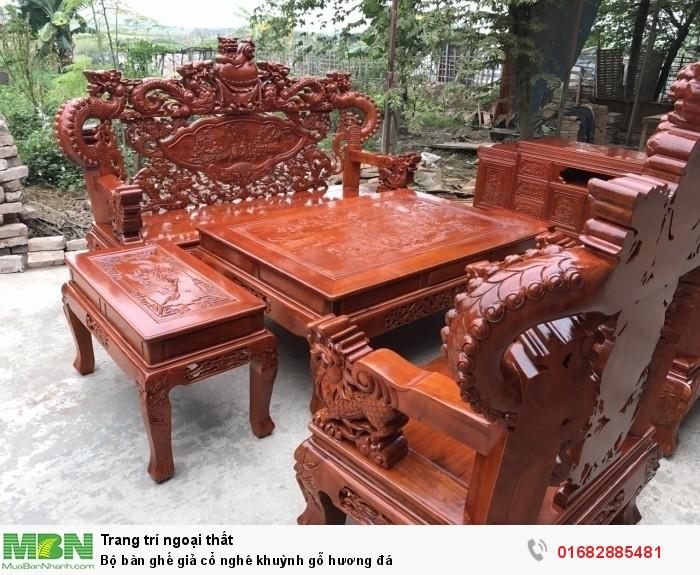 Bộ bàn ghế giả cổ nghê khuỳnh gỗ hương đá2