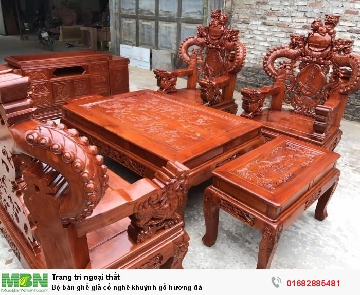 Bộ bàn ghế giả cổ nghê khuỳnh gỗ hương đá3