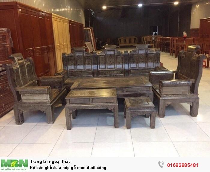 Bộ bàn ghế âu á hộp gỗ mun đuôi công0