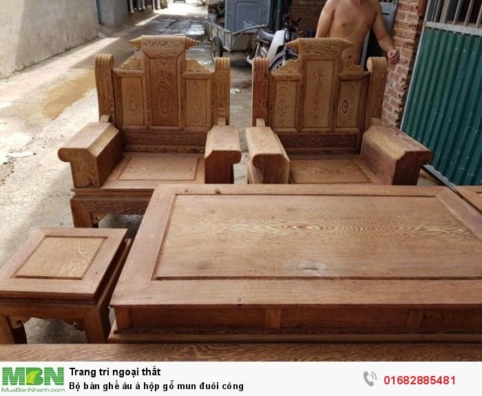 Bộ bàn ghế âu á hộp gỗ mun đuôi công1