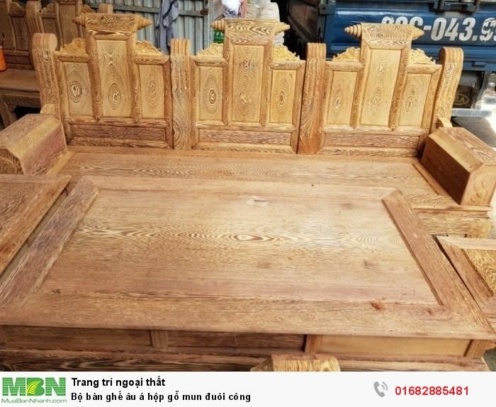 Bộ bàn ghế âu á hộp gỗ mun đuôi công2