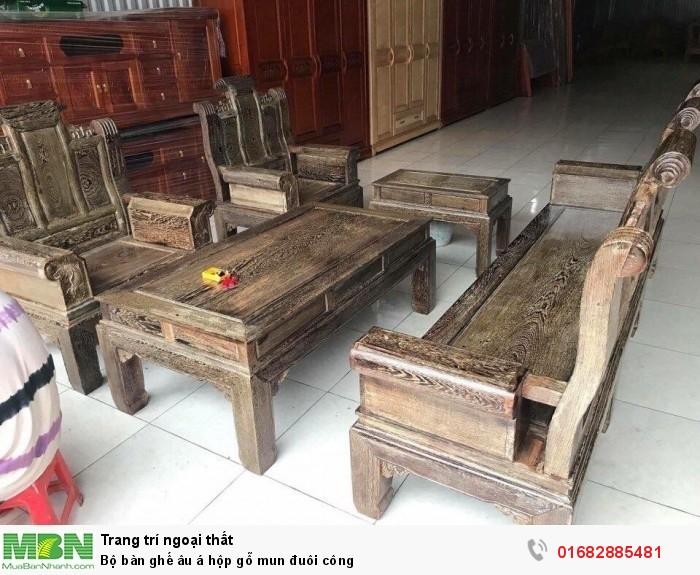 Bộ bàn ghế âu á hộp gỗ mun đuôi công3