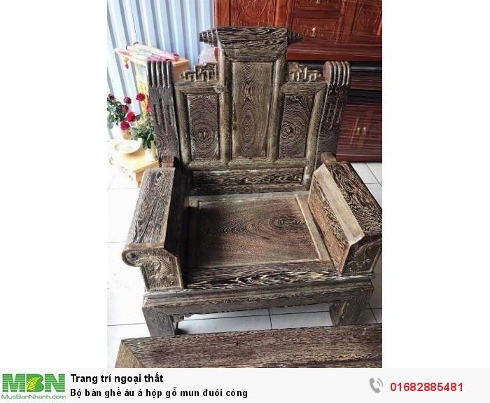 Bộ bàn ghế âu á hộp gỗ mun đuôi công4