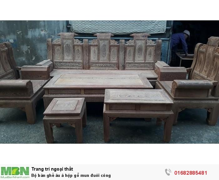 Bộ bàn ghế âu á hộp gỗ mun đuôi công8