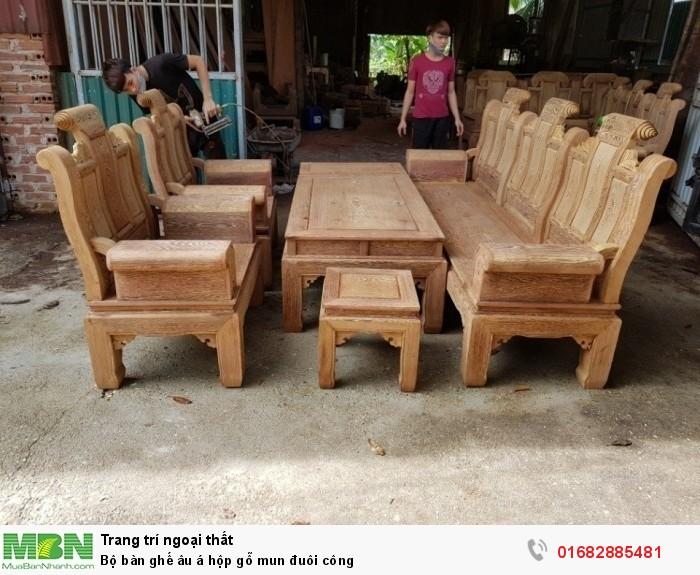Bộ bàn ghế âu á hộp gỗ mun đuôi công9