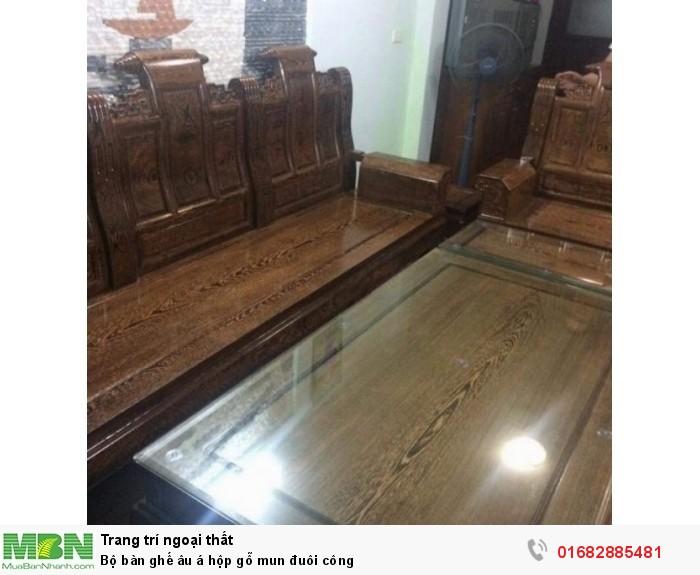 Bộ bàn ghế âu á hộp gỗ mun đuôi công10