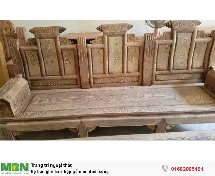 Bộ bàn ghế âu á hộp gỗ mun đuôi công11