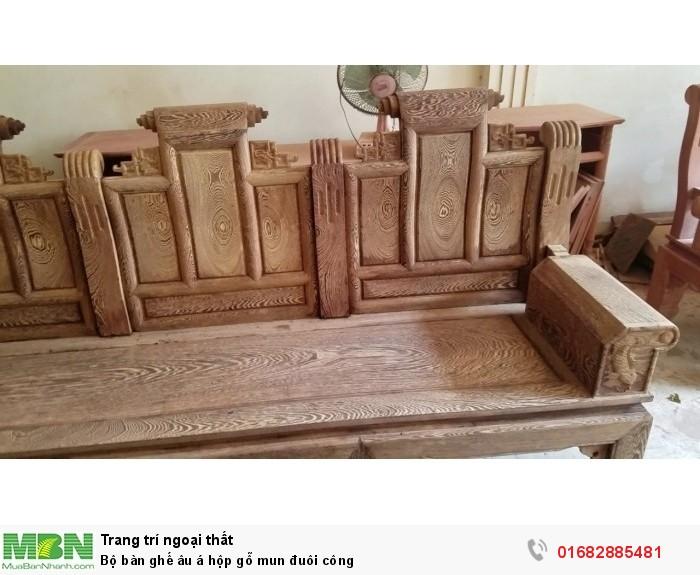 Bộ bàn ghế âu á hộp gỗ mun đuôi công12