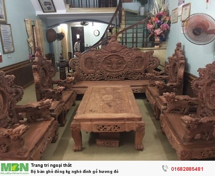 Bộ bàn ghế đồng kỵ nghê đỉnh gỗ hương đỏ0