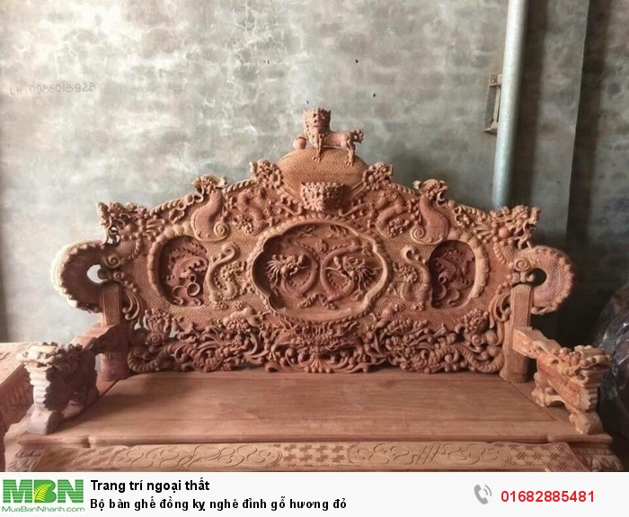 Bộ bàn ghế đồng kỵ nghê đỉnh gỗ hương đỏ1