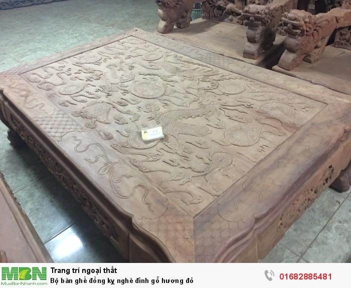 Bộ bàn ghế đồng kỵ nghê đỉnh gỗ hương đỏ2
