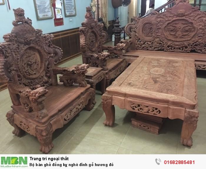 Bộ bàn ghế đồng kỵ nghê đỉnh gỗ hương đỏ3