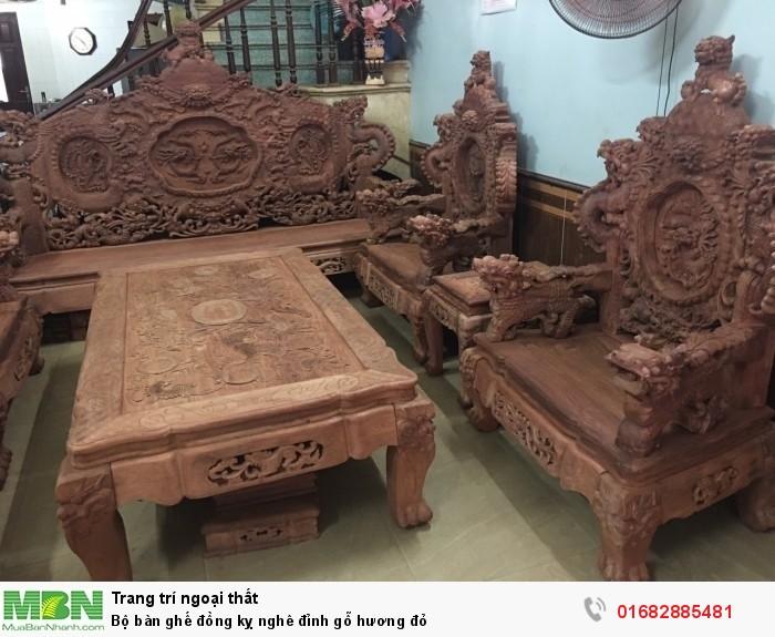 Bộ bàn ghế đồng kỵ nghê đỉnh gỗ hương đỏ4