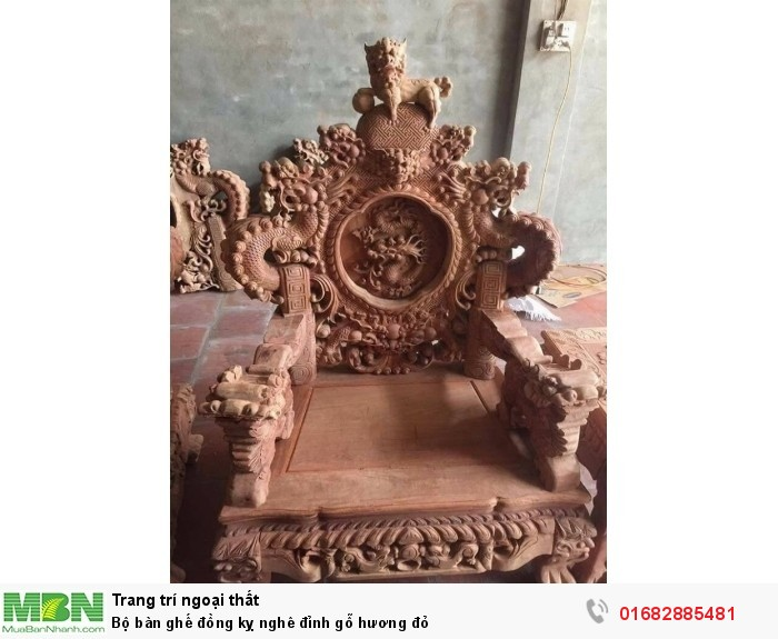 Bộ bàn ghế đồng kỵ nghê đỉnh gỗ hương đỏ7