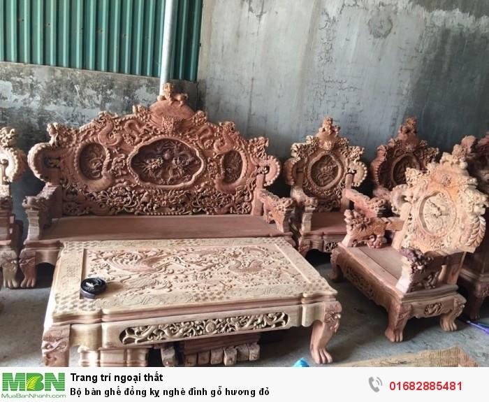 Bộ bàn ghế đồng kỵ nghê đỉnh gỗ hương đỏ9
