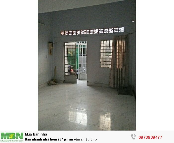 Bán nhanh nhà hẻm 237 Phạm Văn Chiêu