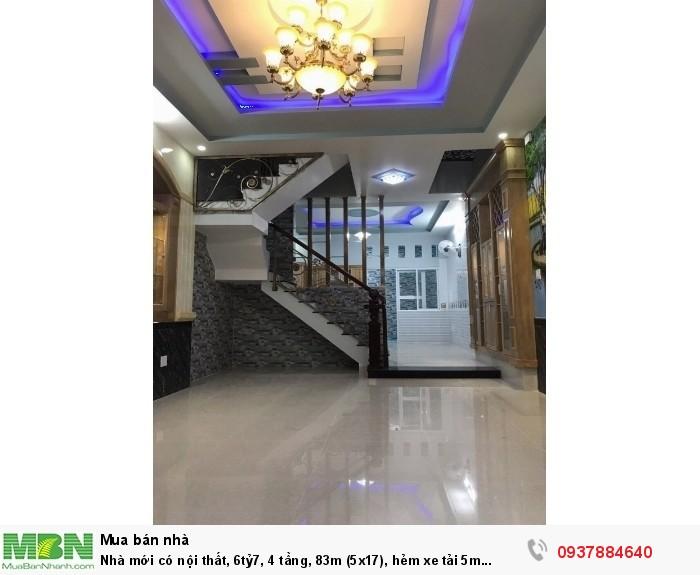 Nhà mới có nội thất, 4 tầng, 83m (5x17), hẻm xe tải 5m thông, Phạm Văn Chiêu, phường 9