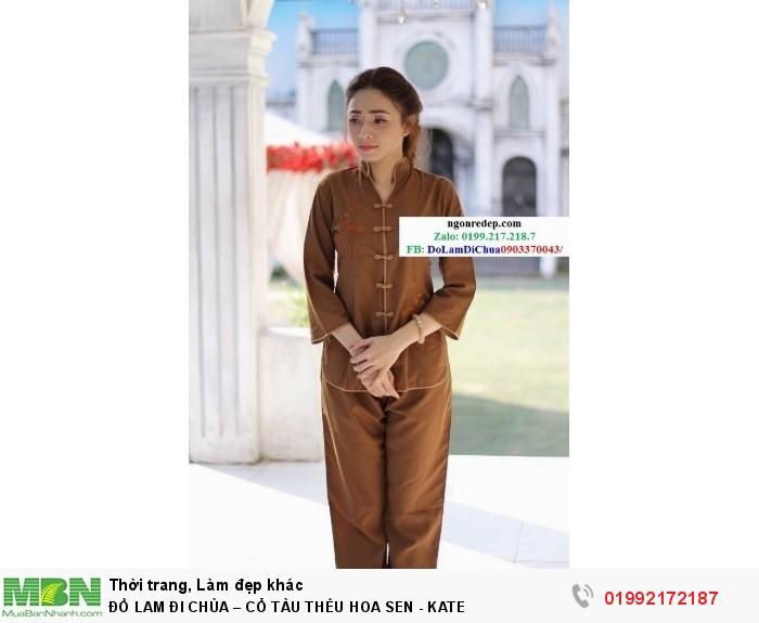 Đồ Lam Đi Chùa – Cổ Tàu Thêu Hoa Sen - Kate10