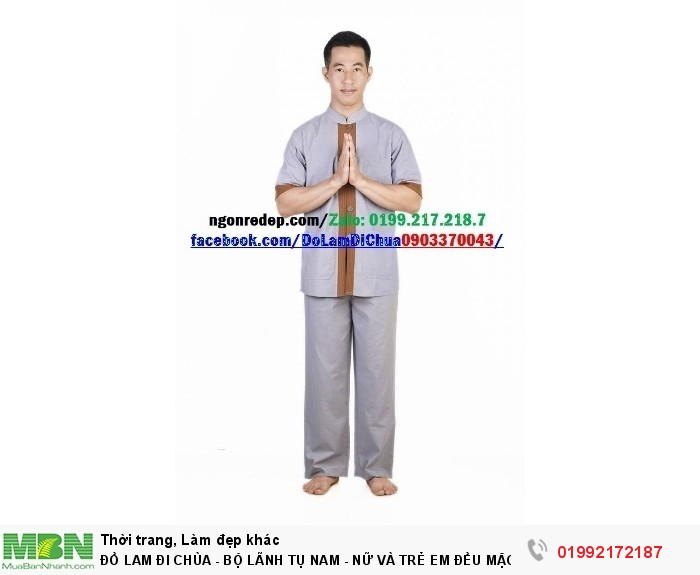 Đồ Lam Đi Chùa - Bộ Lãnh Tụ Nam - Nữ Và Trẻ Em Đều Mặc Được0